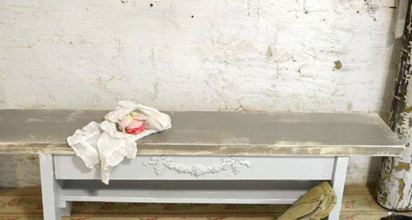 Painted Cottage Chic Shabby Farmhouse Bench Chr