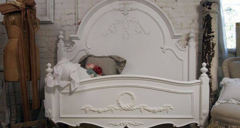 Painted Cottage Chic Shabby White Queen Romance Bed