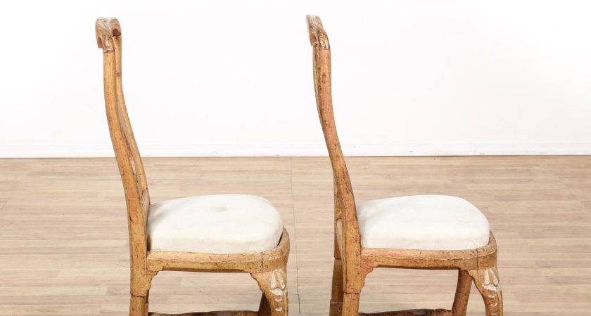Pair French Provincial Distressed Wood Chairs