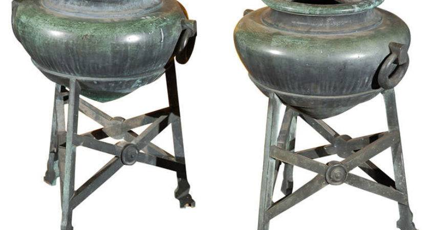 Pair Grecian Style Urns Stdibs