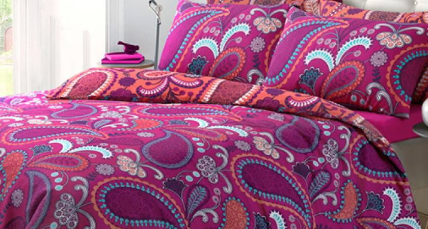 Paisley Bright Pink Duvet Quilt Bedding Cover