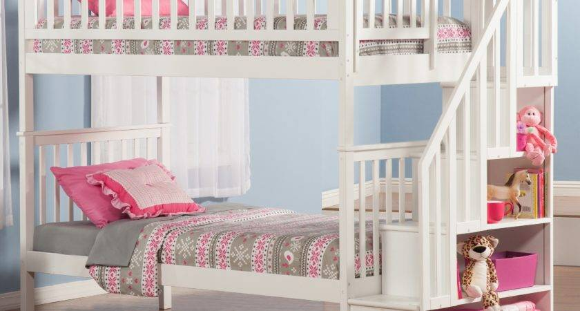 Pale Blue Girl Room Features White Twin Over Bunk Bed
