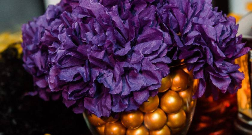Paper Flower Table Centerpiece Purple Gold
