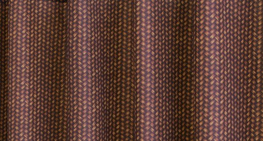 Park Smith Basket Fabric Shower Curtain Brown