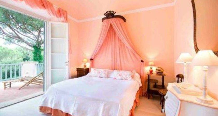 Peach Warm Bedroom Colors Bed Canopy Pink