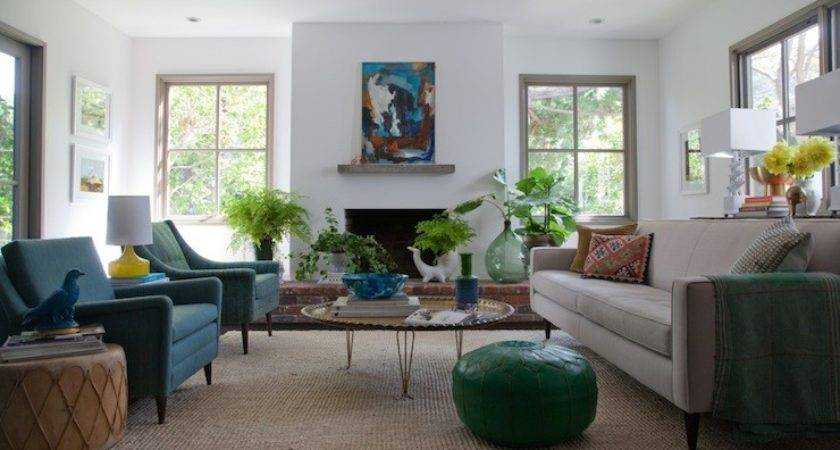 Peacock Blue Chairs Eclectic Living Room Eric Olsen