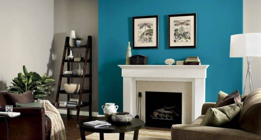 Perfectly Taupe Teal Tension Feature Wall Living Room
