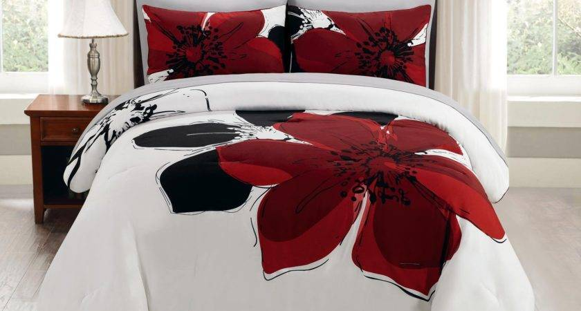 Piece Burgundy Red Black White Grey Floral Comforter Bed