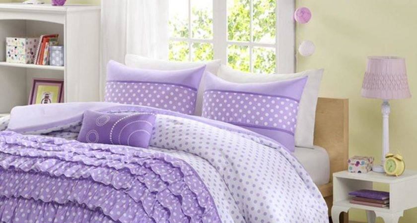 Piece Comforter Set White Purple Polka Dots