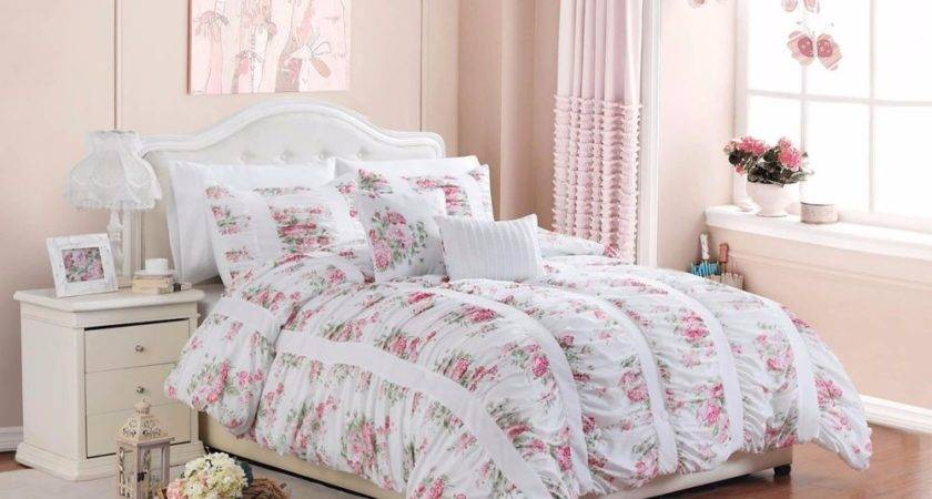 Piece Floral Print Rose Ruffle Ruching Vintage Bedding