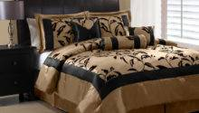 Piece Queen Amelia Black Tan Flocked Comforter Set