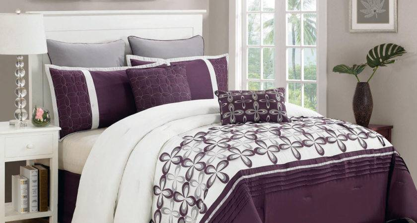 Piece Queen Ellis Purple White Bedding Comforter Set