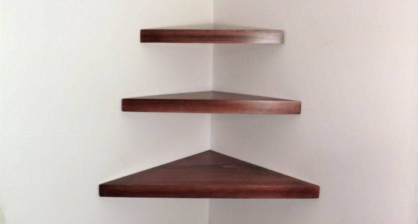 Piece Set Floating Corner Shelves Black Cherry Stain