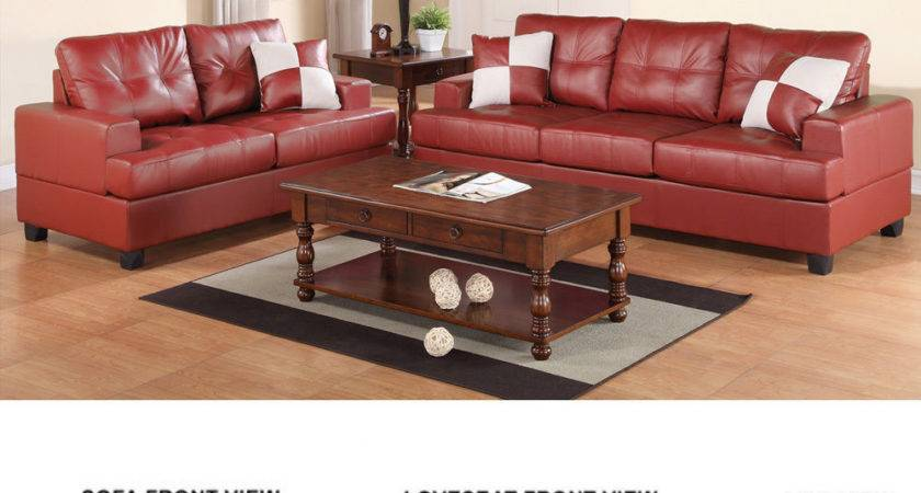 Pieces Traditional Living Room Burgundy Bonded Leather