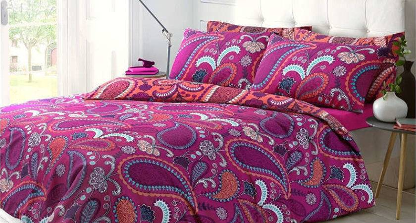 Pieridae Paisley Bright Pink Single Duvet Cover Quilt