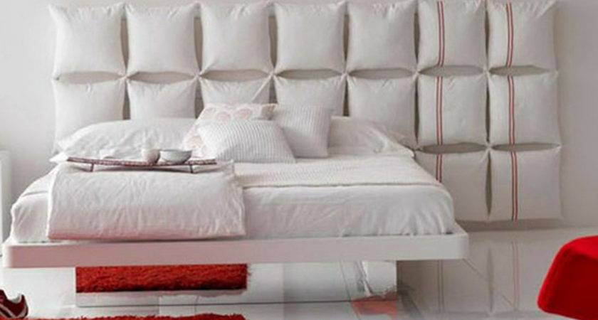 Pillowed Wall Mount Headboard White Floating Bed