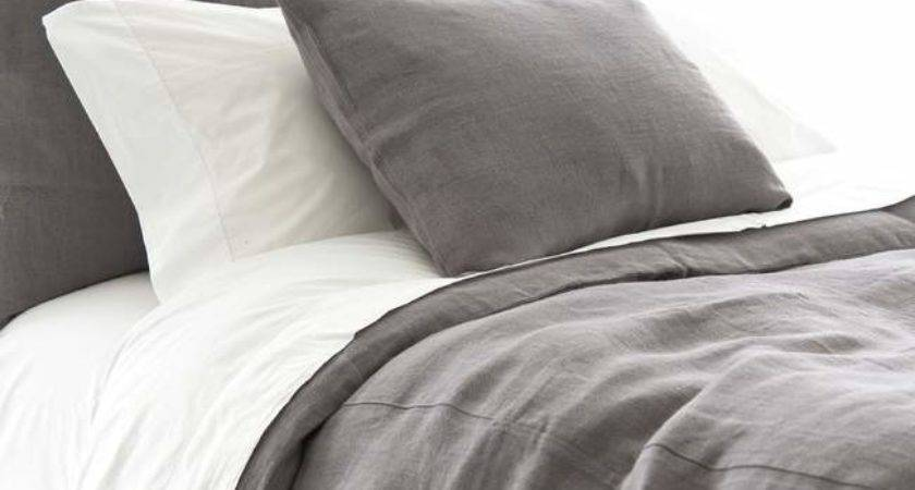 Pine Cone Hill Stone Washed Linen Shale Duvet Cover Ships