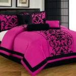 Pink Black Luxury Flocking Comforter Curtain