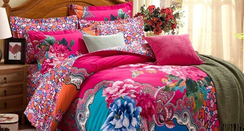 Pink Blue Orange Colorful Asian Inspired Bohemian