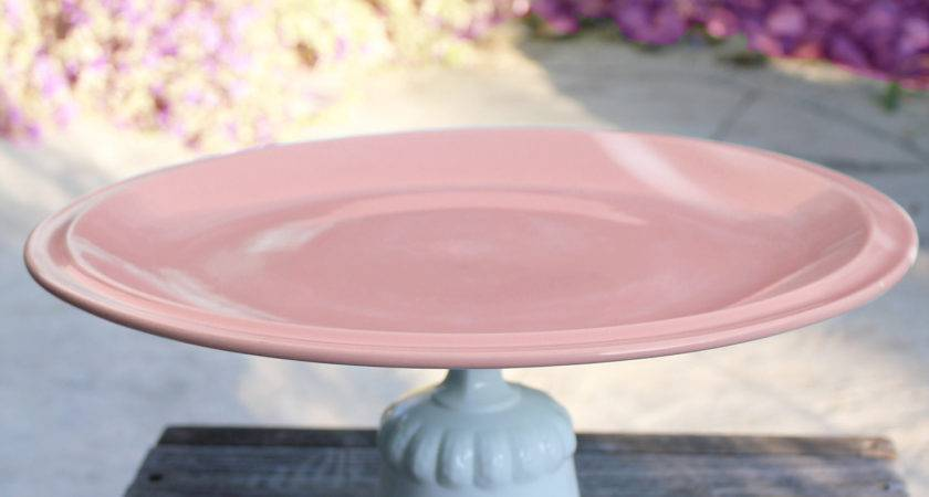 Pink Cake Stand Pedestal Plate