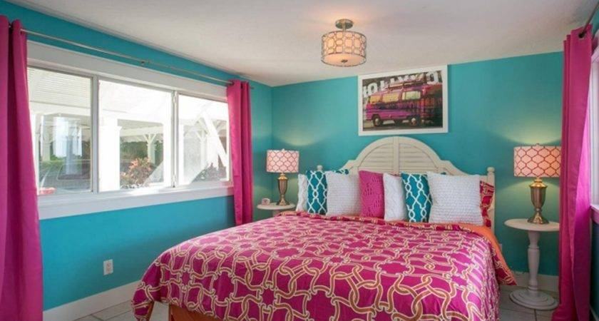 Pink Curtain Turquoise Wall Impressive Master