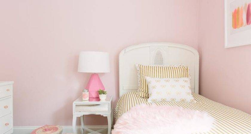 Pink Gold Girl Bedroom Contemporary