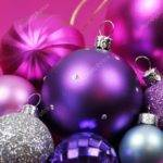 Pink Purple Christmas Bauble Decorations