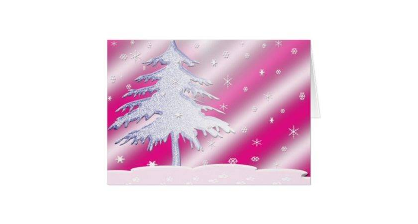 Pink Purple Christmas Tree Card Zazzle