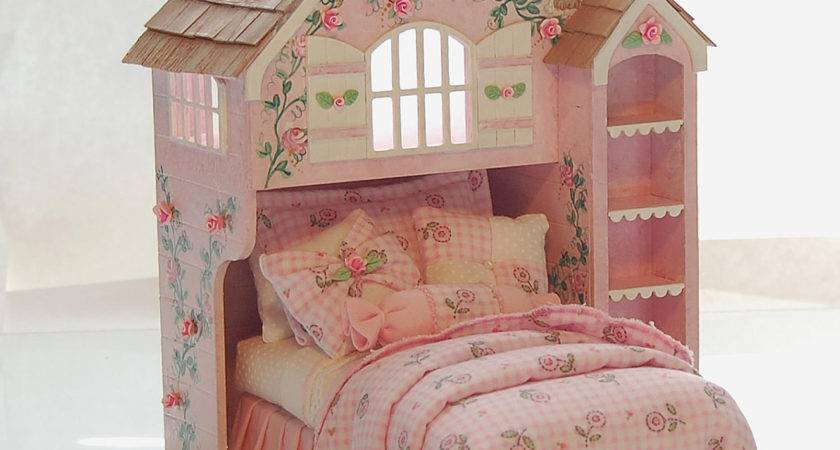 Pink White Perfection Playhouse Bed Dollhouse Miniature