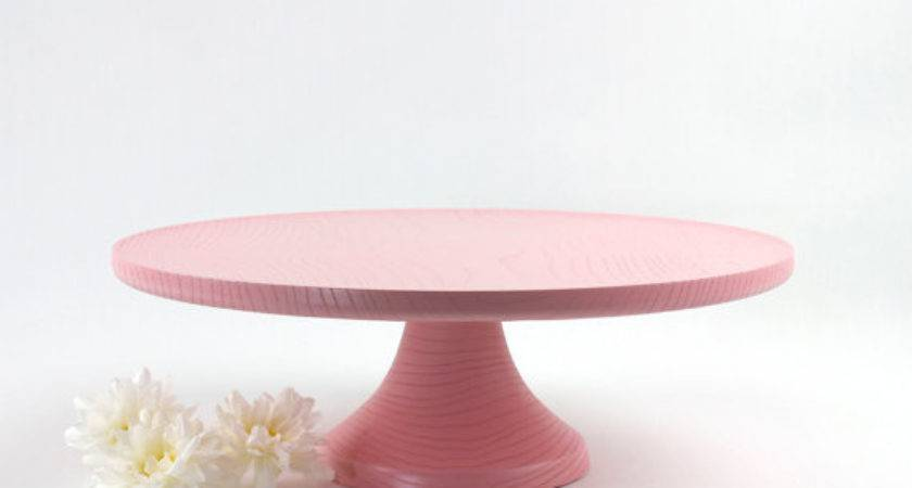 Pink Wooden Cake Stand Inch Pedestal