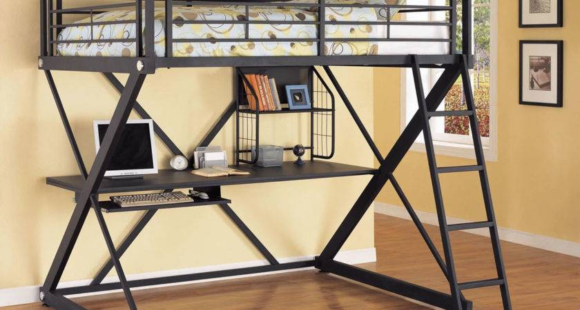 Powell Bedroom Metal Loft Bed Study Desk