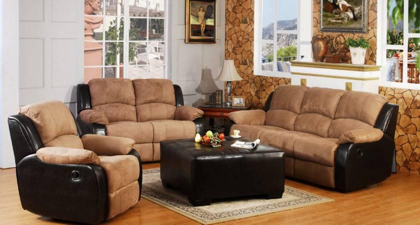 Premium Microfiber Sofa Set Traditional Tan