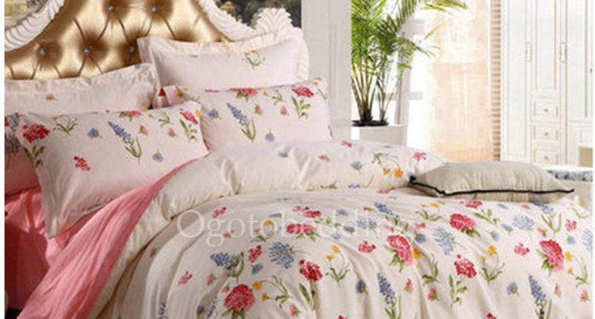 Pretty Country Cotton Comforter Sets White Floral