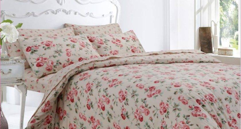 Pretty Pink Floral Brushed Cotton Flannelette Duvet Cover