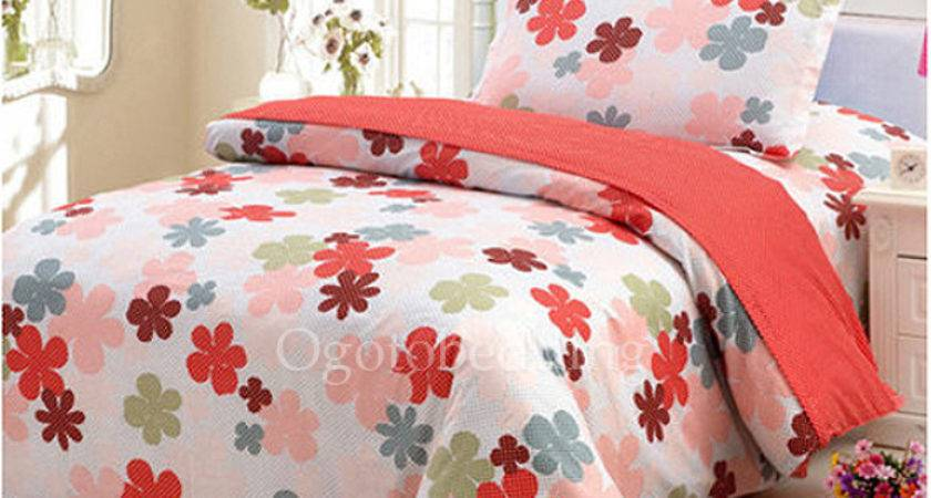 Pretty Quality Red Floral Kids Bedding Sets Girls