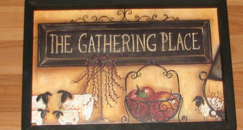 Primitive Country Gathering Place Lamb Willow Tree