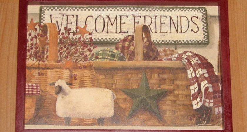 Primitive Country Welcome Friends Framed Wall Decor Ebay