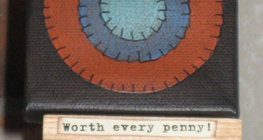 Primitive Mini Penny Rug Style Painting Canvas