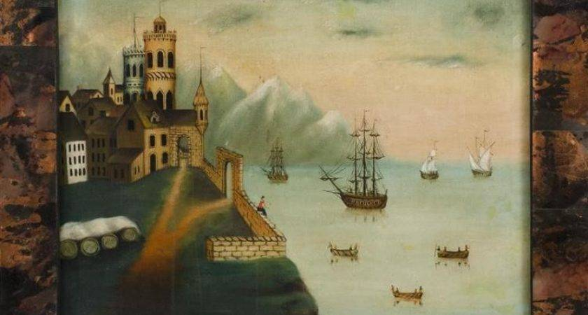 Primitive Style Painting Depicting Ships Off Coast