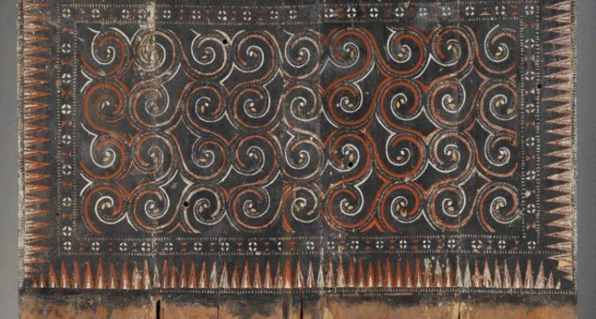 Primitive Wall Panel Elegantly Carved Painted Bright