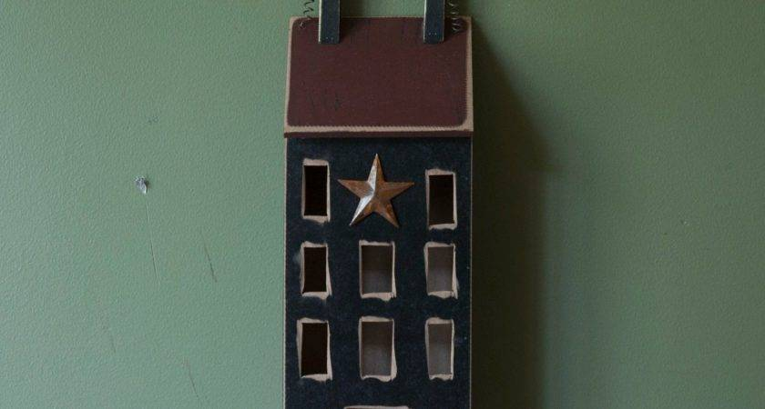 Primitive Wood Hanging Saltbox House Country Rustic Wall