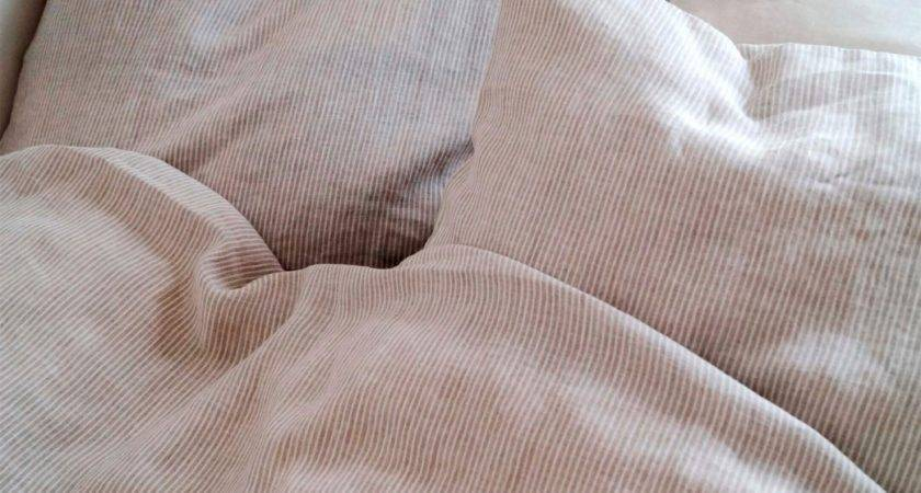 Pure Linen Bedding Striped Natural