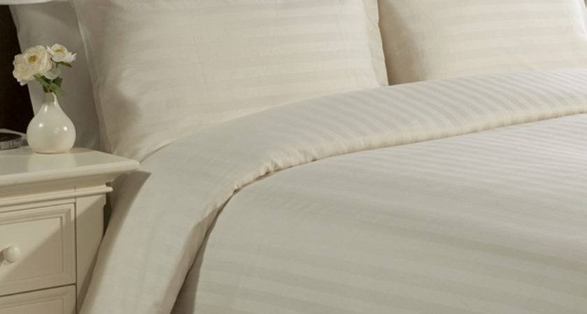Pure Linen Company Satin Stripe Ivory Luxury Bedding