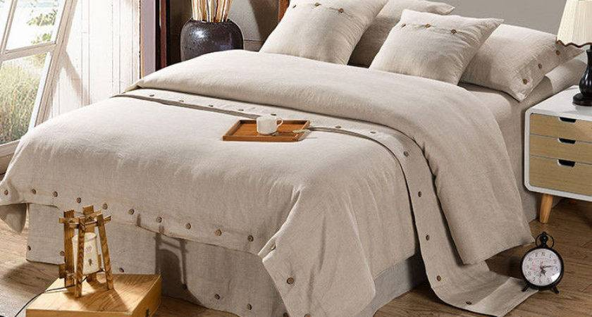 Pure Linen Wooden Buttons Modern Bedding Sets Pcs Real