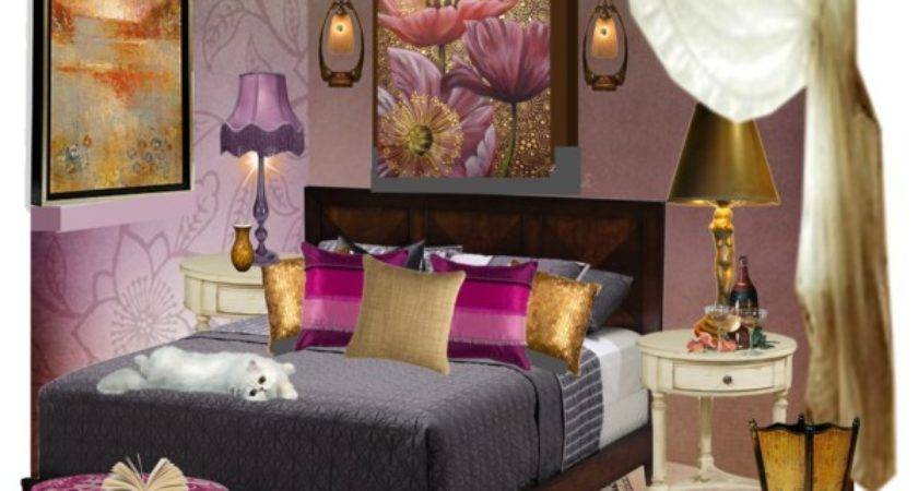 Purple Gold Bedroom Polyvore