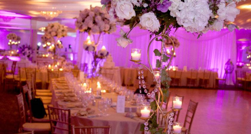 Purple Gold Wedding Centerpieces White
