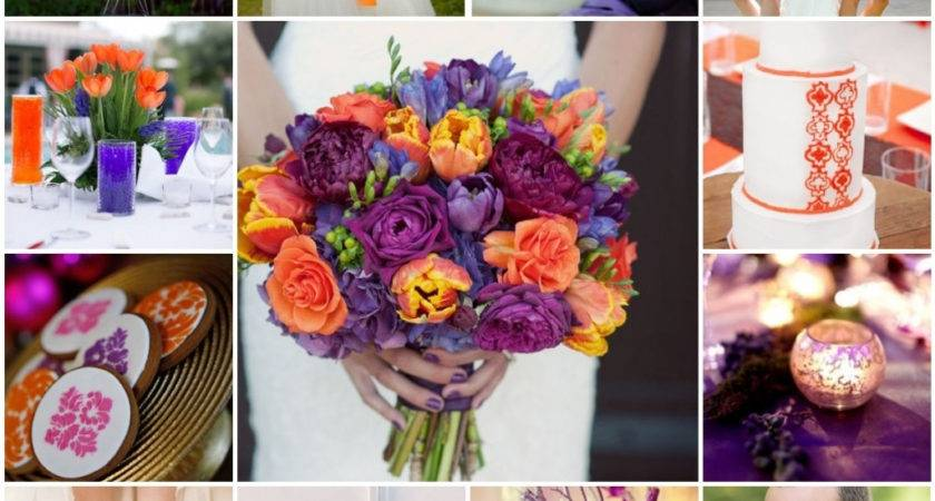 Purple Orange Wedding Table Decorations Decorating