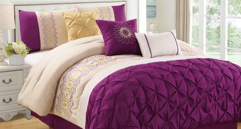 Purple Sunshine Piece Embroidered Pinched Comforter Set