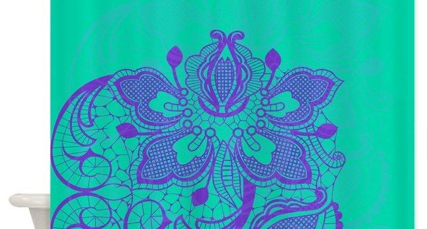 Purple Teal Lace Shower Curtain Glamourgirls