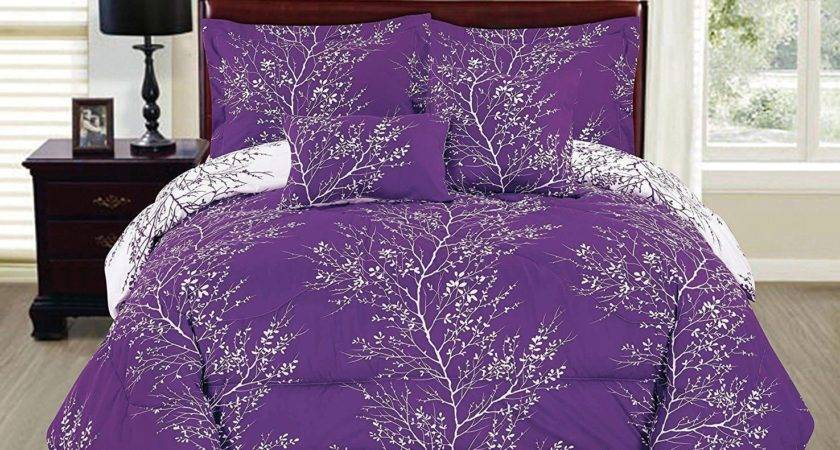 Purple White Comforter Set Piece King Reversible